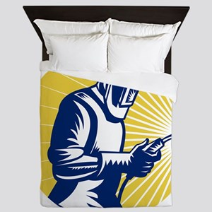 welder welding at work retro style Queen Duvet